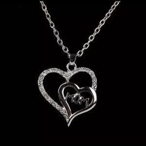 Jewelry - Rhinestone Plated Mom Heart Pendant Necklace